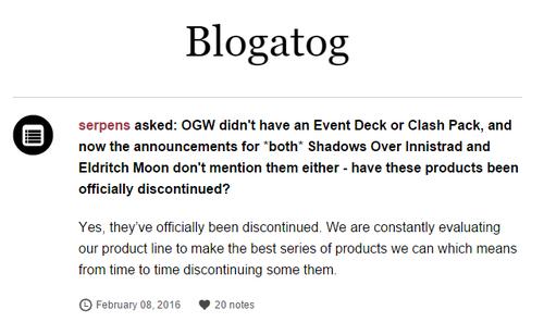 MaRo na svém blogu oznamuje zrušení Clash Packů a Event Decků