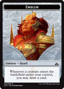 Rivals of Ixalan tokens - Huatli emblem